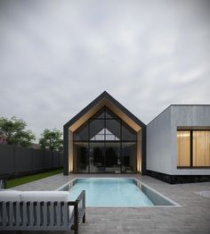 Private house on Behance Modern Barn House, Modern House Plans, Modern House Design, Piscina Interior, Modern Farmhouse Exterior, Dream House Exterior, Future House, Building A House, Architecture Design