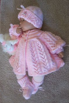 Custom handmade  knit baby girls pink Sweater hat booties set Layette PINK heart shaped buttons 0-12M Ready to Ship