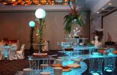 Blue, Lighted, Acrylic Buffet Serving table for rent - for parties and receptions