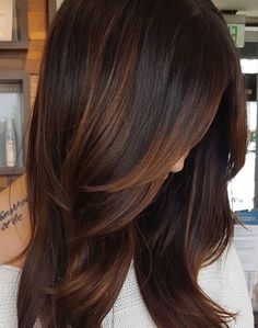 60 Hairstyles Featuring Dark Brown Hair with Highlights Partial Matte Copper Balayage Brown Hair Balayage, Brown Ombre Hair, Brown Blonde Hair, Brown Hair Colors, Short Balayage, Copper Balayage Brunette, Auburn Balayage, Black Ombre, Hair Colours