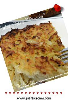This potato pancakes recipe is my variation of the potato kugel similar to that traditional Dibbelabbes dish from Saarland. It's baked in the oven, like a potato gratin or casserole, and gets a wonderful crispy dark crust on top and bottom and the insides are lovely tender, almost creamy! Check out http://www.quick-german-recipes.com/potato-pancakes-recipe.html
