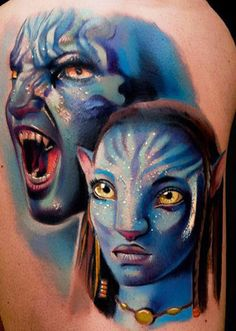 Such a vibrant Avatar tattoo by Andrea Afferni #InkedMagazine #tattoo #color #avatar #movie #blue #tattoos #ink #art