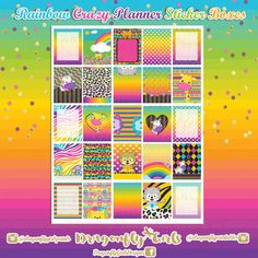 Rainbow Crazy Planner Stickers | Full Boxes Half Boxes | Made to fit the Erin Condren Life Planner, Plum Paper Planner & More.