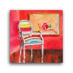 Daily Oil Painting of mid century mod chair, Over the Rainbow, Applegate