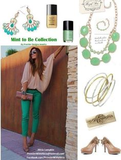 """How about a SNEAK PEEK at an ensemble coming out this summer?! Is it """"Mint To Be"""" or what? Love this color combo... Email me for details on how to get free jewelry & host a ladies night out w/ Premier designs! accessorizewithandrea@gmail.com"""