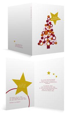 Weihnachtskarte mit Tannenbaum für Firmen, innen individuell bedruckt, hinten mit Firmenlogo