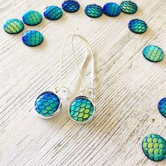 Blue Mermaid earrings, mermaid dangle earrings , blue scale earrings, womans earrings, blue drop earrings made by rubybluejewels