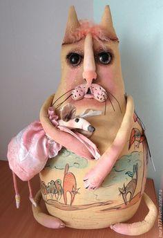 Купить интерьерная игрушка КОТ УПИТАННЫЙ И ЗАБОТЛИВЫЙ - кукла ручной работы, кот