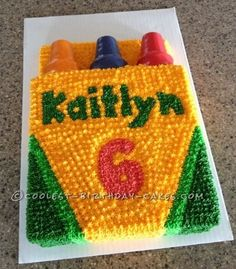 Coolest Crayola Crayon Box Cake... This website is the Pinterest of birthday cake ideas