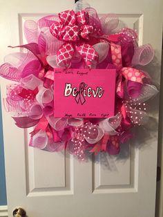 Breast cancer awareness deco mesh wreath