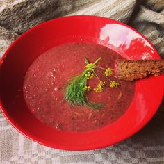 Fennel and Beetroot Leaf Soup with homemade rye bread.