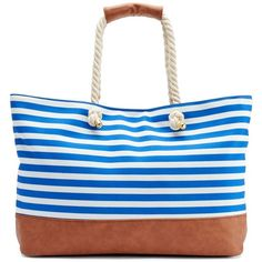 Under One Sky Navy Striped Beach Tote ($64) ❤ liked on Polyvore featuring bags, handbags, tote bags, navy, white purse, white tote bag, handbags totes, beach tote and striped tote