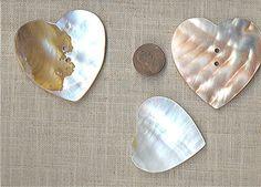 2 VINTAGE GENUINE M.O.P. HEART 55mm PENDANT BEADS