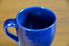 Blue Coffee Cup, Hand Thrown Porcelain Pottery, Tea Cup, Coffee Mug, Handmade Ceramic | Caldwell Pottery