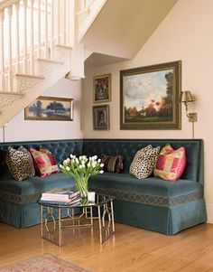 If you're lucky enough to have open floorspace under the stairs, reclaim it by creating a cozy nook.