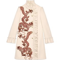 Gucci Dragon Embroidered Wool Coat ($3,065) ❤ liked on Polyvore featuring outerwear, coats, dresses, jackets, coats & furs, ready-to-wear, women, ruffle wool coat, ruffle coat and wool coat