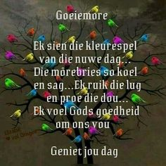 Good Morning Good Night, Good Morning Wishes, Lekker Dag, Evening Greetings, Goeie More, Day Wishes, Scripture Verses, Afrikaans, Inspirational Quotes