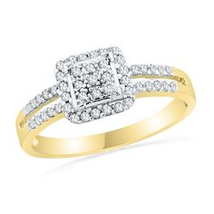 Orig. $329.00 Now $279.65 1/4 CT. T.W. Diamond Square Frame Promise Ring in 10K Gold