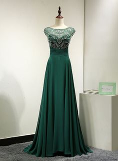 Emerald Green Chiffon Backless Evening Dress by MelissaLife89