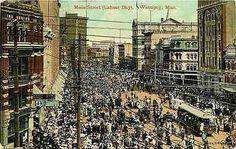 Winnipeg Manitoba Canada 1910 Downtown Main Street Labour Day Vintage Postcard