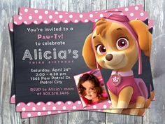 Paw Patrol Skye Theme Printable Birthday Party Invitation Cards