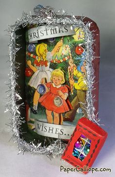 Love this Altered Altoid Tin Christmas Ornament   by Betsy Skagen of Paper Calliope www.papercalliope.com