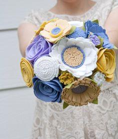 Felt Bridal Bouquet  Wedding Bouquet  by SugarSnapBoutique on Etsy