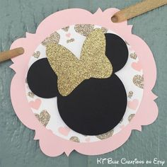Gold GLITTER & Pale Pink MINNIE Mouse Banner by ktbluecreations