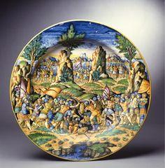 Orazio Fontana (Urbino 1510-1571) A Majolica plate with a battle scene Diameter 46.5 cm Circa 1535