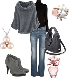 """Pink and Gray"" by leelee107 ❤ liked on Polyvore"