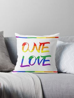 One LoveThorw Pillow by Scar design.  #typographic #onelove #art #design  #lgbt #pride #couples #popular #valentine #romance #pop #rainbowflag #rainbow #colorful #life #love #loveislove #gay #lesbian #livingroom #home #homedecor #pride #pride #cool #awesome #valentinesdaygifts #valnetinesday #family #onlineshopping #giftsforhim #giftsforher #fashion #style #pillow #bedroom #39 #gaypride #lesbianpower #feminist #march #gayhome #homegifts #gaydads #lesbianmoms #baby #babyshower #shopping