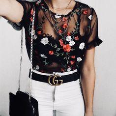 black floral embroidered sheer t shirt
