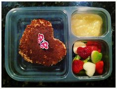 Real food lunch ideas... I especially like the whole wheat pancake sandwiches, and the heart fruit cut-outs