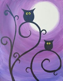 Join us for a Paint Nite event Wed Oct 2014 at 5305 Alamaden Expy San Jose, CA. Purchase your tickets online to reserve a fun night out! Halloween Canvas Paintings, Fall Canvas Painting, Halloween Painting, Autumn Painting, Autumn Art, Halloween Art, Diy Painting, Canvas Art, Owl Paintings