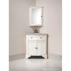corner vanity and matching corner mirror for downstairs bathroom (Hamilton -- in distressed white) Corner Bathroom Vanity, Downstairs Bathroom, Bathroom Wall, Bathroom Storage, Bathroom Ideas, Granite Bathroom, Shower Bathroom, Bathroom Closet, Corner Tub