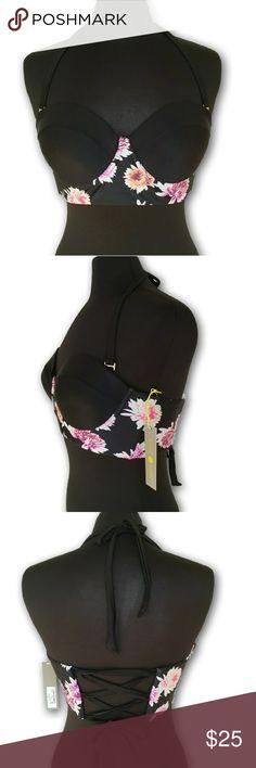 Shade & Shore Underwire Corset Bikini Top Black floral underwire bikini top with an optional halter strap Swim Bikinis