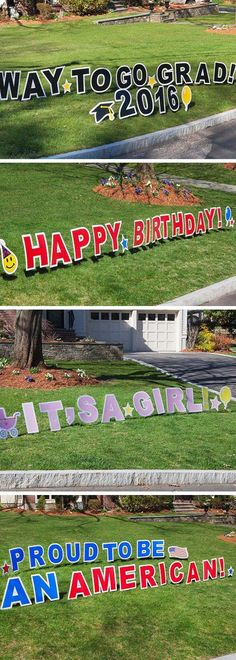 An enormous, joy-filled lawn sign from My Yard Card is like a jumbo greeting card opened up in front of your house.