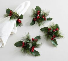 Our Favorite Table Settings   Pottery Barn Christmas Napkin Rings, Christmas Napkins, Christmas Tablescapes, Holiday Tables, Diy Napkin Rings, Christmas Dinner Set, Christmas Entertaining, Christmas In July, Canadian Christmas