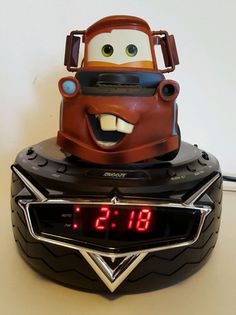 Disney Pixar Cars Tow Mater Digital Alarm Clock AM/FM Radio Talking Man Cave Rat #Disney