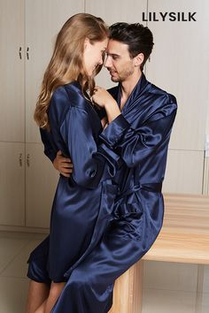This silk couple matching pajamas made from high-quality silk, providing you a romantic and sweet feeling in your whole life.