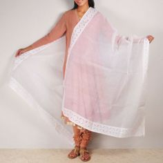 White Organdy Dupatta This beautiful organdy dupatta with applique and running stitch hand treatment which makes this simple drape more beautiful. This garment is all about colors and stitched patterns. It can make a simple dress look gorgeous. Shop here: http://www.tadpolestore.com/tara #white #summers #dupatta #ethnic #Indian #traditional #applique