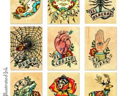 Day of the Dead Art Prints Mexican Loteria SET by illustratedink