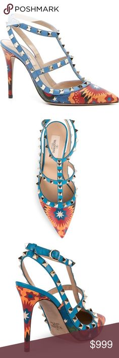 """Valentino Garavani Wonderland Rockstud 100mm Pumps NWT, NEW, NEVER WORN Valentino Garavani Wonderland Rockstud 100mm Pump in Al Campione/Light Stone.     Color: (Al Campione/Light Stone) Blue / Multi color print  Size: 38.5 / US 8 - 8.5  Retail = $1195 + TAX!    Valentino Garavani pump in """"Wonderland"""" printed leather.  Signature platino Rockstuds on solid leather trim.  4"""" covered heel.  Pointed toe.  Caged vamp.  Adjustable buckle strap connects to halter.  Smooth outsole.  Made in Italy…"""