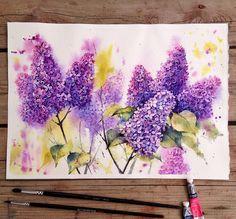 Watercolor lilacs on Behance