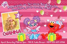 Abby Cadabby and Elmo Personalized Birthday Invitations