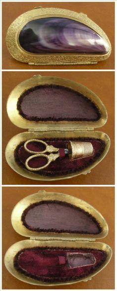Rare Mussel Clam Shell Sewing Etui, France circa 1870