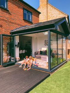 open Garden room Our Modern Conservatory Extension- Before and After (Home Renovation Project - Mummy Daddy Me House Extension Plans, House Extension Design, Extension Designs, Kitchen Extension Exterior, Patio Extension Ideas, Glass Extension, Rear Extension, House Design, Orangerie Extension