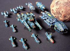 Mini scratch-built spaceships and terrain; created for the free Starcrashers space battle game. (tutorials)