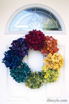 Easy Floral Rainbow Wreath - illistyle.com