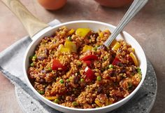 This delicious brown rice dish is packed with vegies – capsicum, tomato and peas make this extra flavoursome and a perfect addition to dinner.